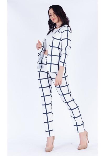 Ewa Moda Dijital Baskı Jessica Pantolon Ceket Takım Beyaz