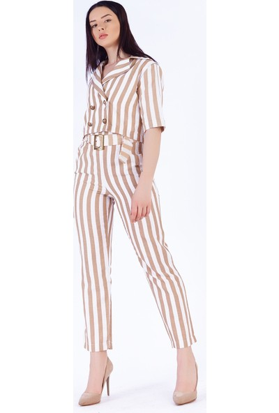 Ewa Moda Kemerli Keten Pantolon Mini Ceket Takım Çizgili