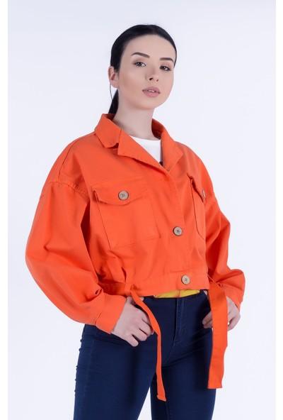 Ewa Moda Yıkamalı Jean Ceket Turuncu
