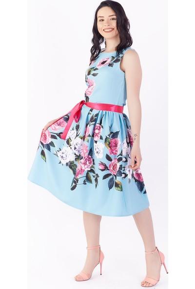 Ewa Moda Çiçekli Mıdı Elbise Bebe Mavi