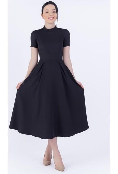 Ewa Moda Atlas Mıdı Elbise Siyah