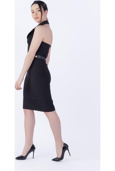 Ewa Moda Saten Garnili Ceket Yaka Kalem Elbise Siyah