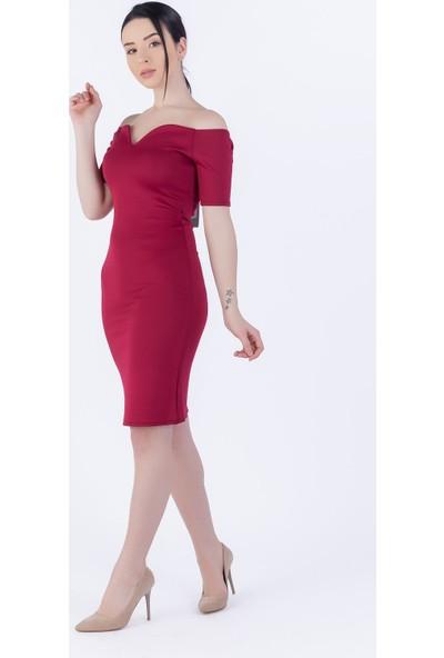 Ewa Moda Öpücük Yaka Kalem Elbise Bordo