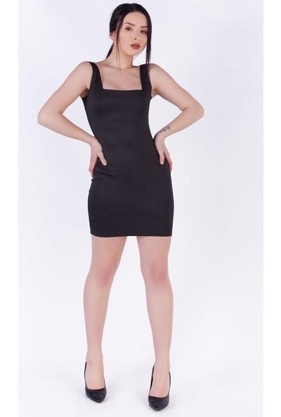Ewa Moda Kare Yaka Mini Elbise Siyah