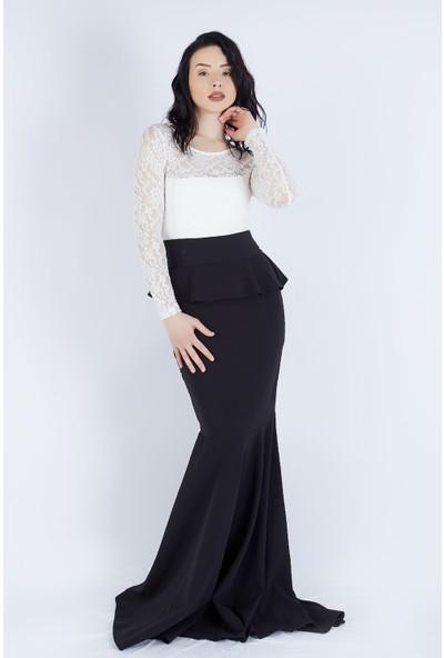 Ewa Moda Volanlı Güpür Balık Elbise Siyah