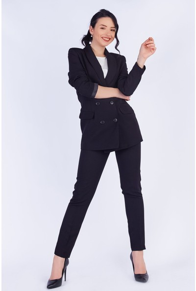 Ewa Moda Boyfrıend Ceket Kemerli Pantolon Takım Siyah
