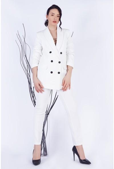 Ewa Moda Boyfrıend Ceket Kemerli Pantolon Takım Ekru