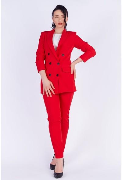 Ewa Moda Boyfrıend Ceket Kemerli Pantolon Takım Kırmızı