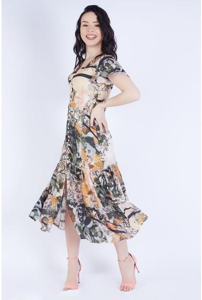 Ewa Moda Düğme Detay Desenli Viskon Elbise Çok Renkli