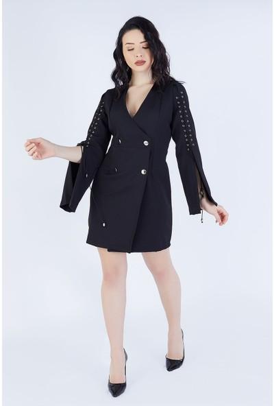 Ewa Moda Kol Korsajlı Tasarım Ceket Elbise Siyah