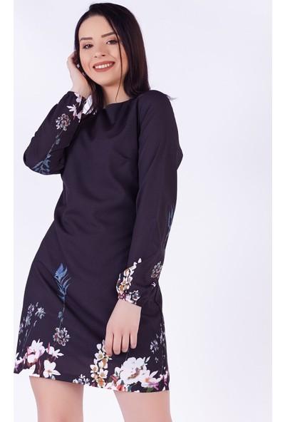 Ewa Moda Çiçek Desen Şifon Mini Elbise Siyah