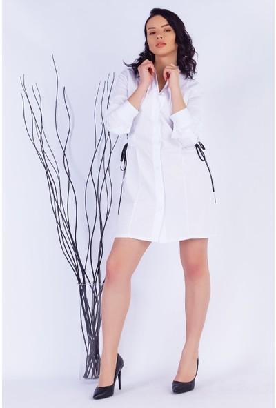 Ewa Moda Korsajlı Poplin Elbise Beyaz
