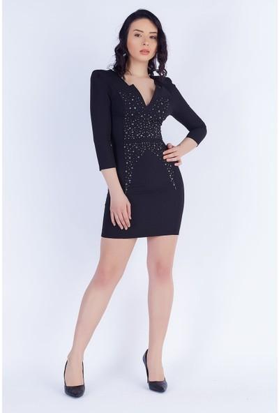 Ewa Moda Yıldız Aksesuarlı Atlas Elbise Siyah