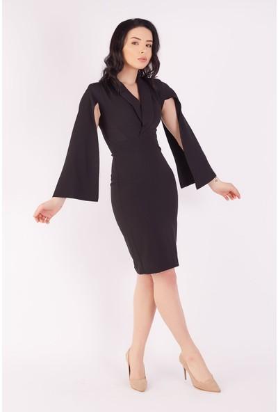 Ewa Moda Pelerin Kol Ceket Elbise Siyah