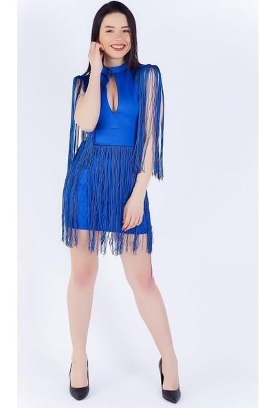 Ewa Moda Saçaklı Atlas Mini Elbise Saks