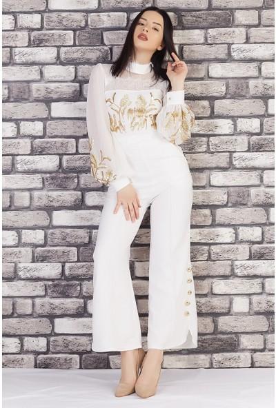 Ewa Moda Başak İşlemeli Atlas Tulum Beyaz