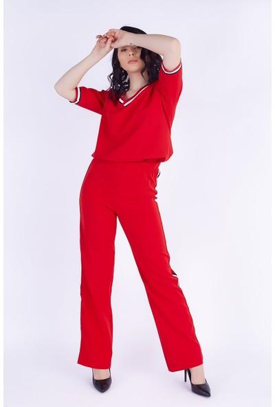 Ewa Moda Şerit Detay Atlas Pantolon Bluz Takım Kırmızı