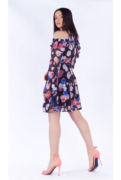 Ewa Moda Omuz Dekolte Desenli Şifon Elbise Çok Renkli