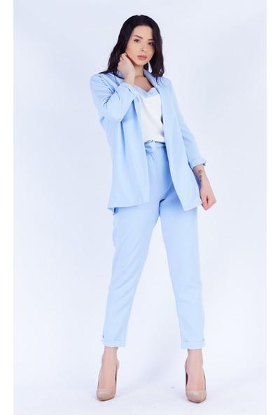 Ewa Moda Atlas Ceket Pantolonbluz Takım Bebe Mavi