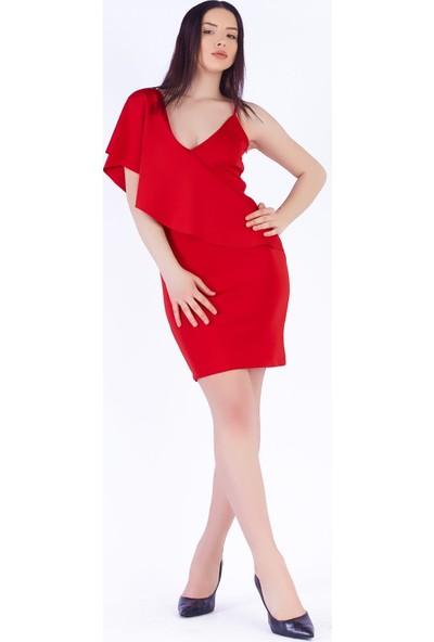Ewa Moda Çapraz Yaka Volanlı Scuba Elbise Kırmızı