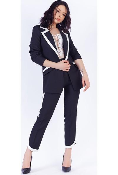Ewa Moda Şerit Detay Atlas Ceket Pantolon Takım Siyah