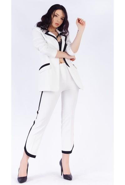 Ewa Moda Şerit Detay Atlas Ceket Pantolon Takım Beyaz