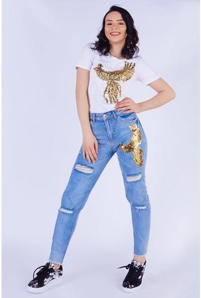 Ewa Moda İncili Kuş Aplikeli Jean Pantolon T-Shirt Takım Beyaz