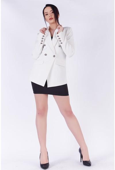 Ewa Moda Asimetrik Kesim Atlas Ceket Beyaz