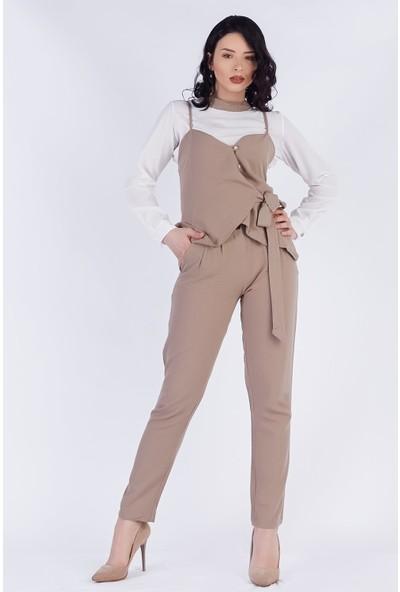 Ewa Moda Keten Kumaş Tasarım Takım Bej