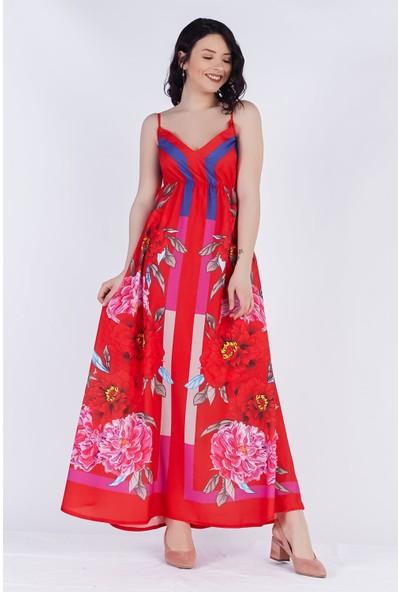 Ewa Moda İthal Crep Desenli Elbise Kırmızı