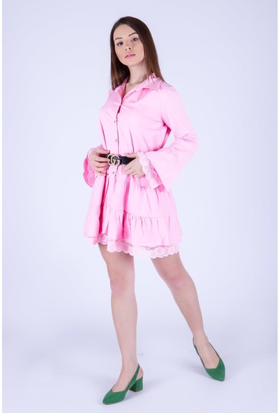 Ewa Moda Dantel Detay Poplin Gömlek Elbise Pembe