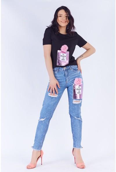 Ewa Moda Parfume Aplikeli Mom Jean T-Shirt Takım Siyah