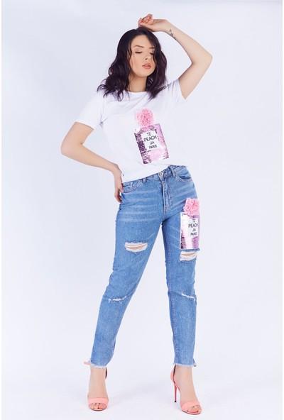 Ewa Moda Parfume Aplikeli Mom Jean T-Shirt Takım Beyaz