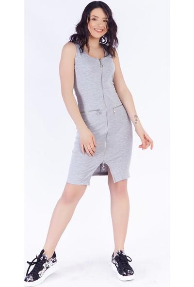 Ewa Moda Fermuarlı Kaşkorse Elbise Gri