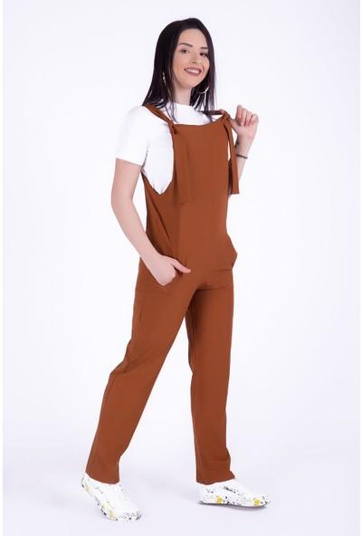 Ewa Moda Atlas Salopet T-Shirt Takım Taba