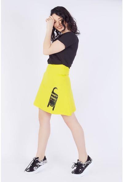 Ewa Moda Kedi Baskılı Etek T-Shirt Takım Çok Renkli
