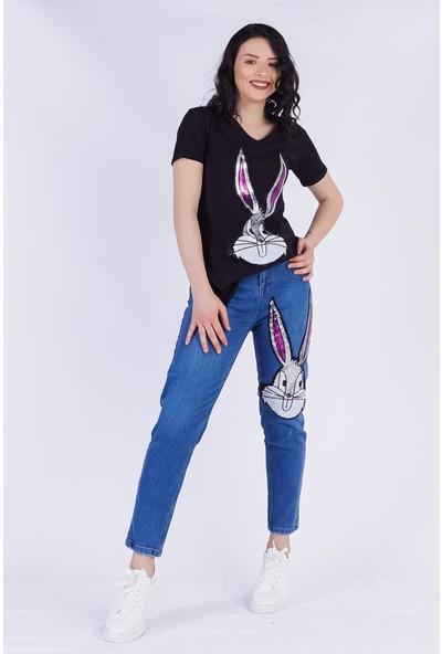 Ewa Moda Bunny Aplikeli Jean T-Shirt Takım Siyah