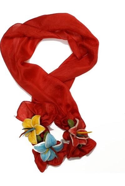 Kimya Hatun Kooperatifi Keçe Çiçekli Kadın Kırmızı İpek Fular
