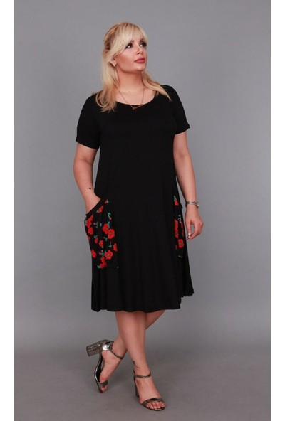 Nb Kadın Rahat Kesim Siyah Elbise