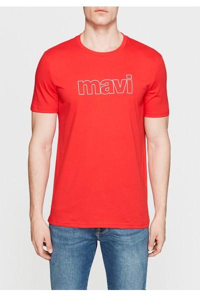 Mavi Logo Baskılı Kırmızı Tişört 065781-27120