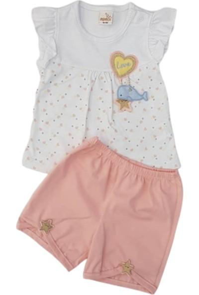 Mombi Baby 2039 Kız Bebek Love Nakışlı Şortlu Takım
