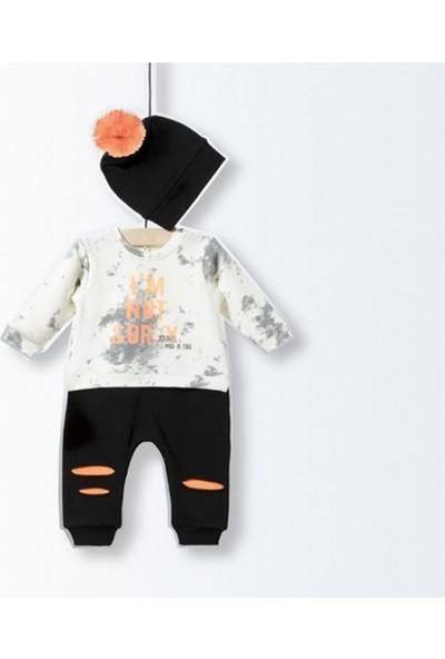 Wogi Baby 5151 Erkek Bebek Tulum 3-12 Ay Krem-Siyah