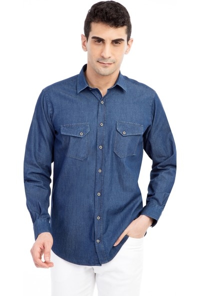 Kiğılı Uzun Kol Denim Gömlek