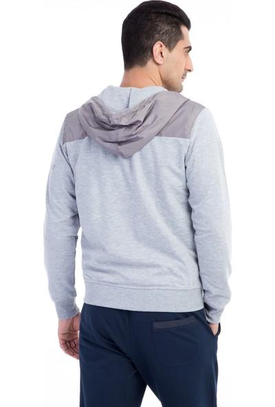 Kiğılı Kapüşonlu Slim Fit Sweatshirt