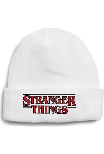 Köstebek Stranger Things - Bold Logo Beyaz Bere
