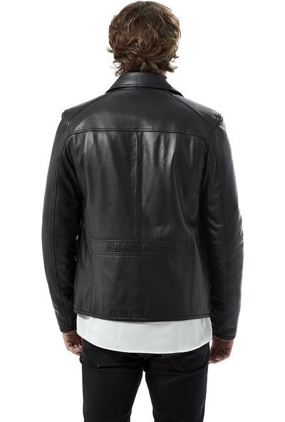 Deriza Santo Siyah Deri Ceket