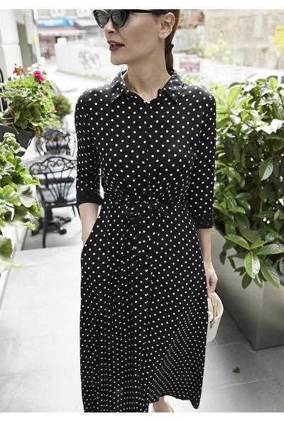 Femme Kadın Siyah Puantiyeli Elbise FM5001