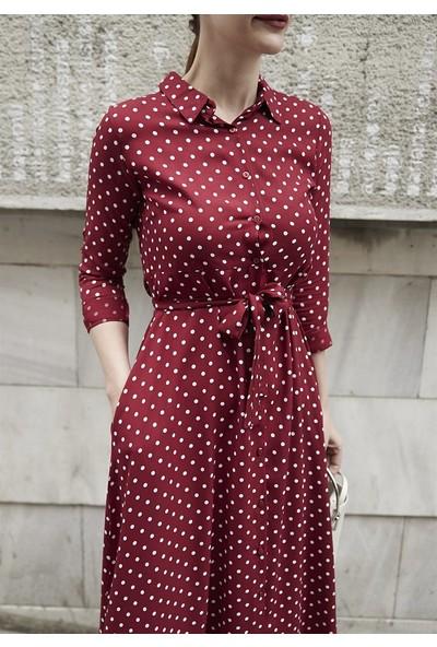 Femme Kadın Bordo Puantiyeli Elbise FM5001