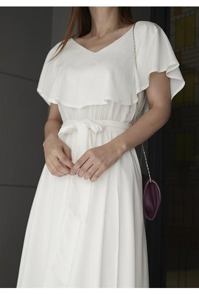 Femme Kadın Ekru Volanlı Elbise FM5048