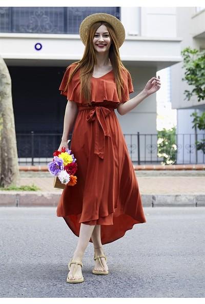 Femme Kadın Taba Volanlı Elbise FM5048
